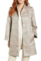 NWT Eileen Fisher Funnel Neck Jacquard Jacket in Natural - Size M #C1150