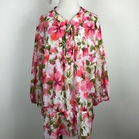 Womens 3X Tunic Top Blouse Floral Pink Green 3/4 Sleeve Elastic Waist Tie Neck