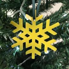 Yellow Crystal Snowflake Christmas Tree Decorations & Green Ribbon x 10