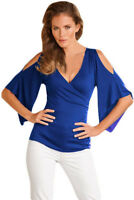 Women's Wrap Bodice Long Bell Sleeve Cold Shoulder V Neck Top Blouse Tee Shirt
