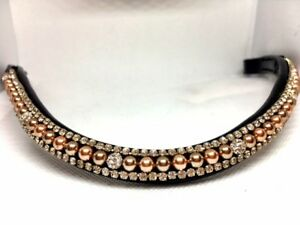 Rose Gold Pearl and White Crystal Browband  Dressage Browband