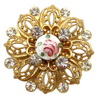 Vintage Brooch Pin Gold Tone Round Flower, Sparkling Faux Diamonds, Enamel