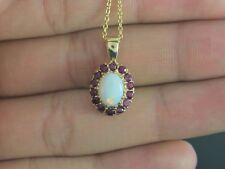 $1,395 10K Yellow Gold Cabochon Fire Opal Round Ruby Pendant 18'' Chain Necklace