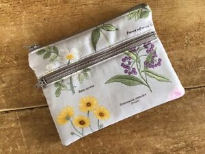 Handmade Coin Purse Credit Card 2 Compartment Botanical Flowers Floral Fabric