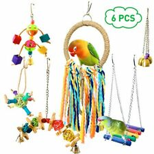 More details for 6x small parrot toys metal rope ladder stand budgie cockatiel cage bird toys set