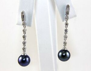 Black Tahitian Pearl & Diamond Drop Earrings 14k White Gold 9mm .30Ct