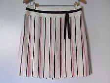 Ann Taylor LOFT Ivory/Pink/Black Striped Pleated Knee-length Skirt NWT SZ: 6P