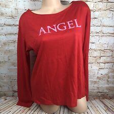 NEW Victoria's Secret Women's Large Red Pink Angel Sleep Lounge Pajama Top Shirt