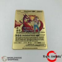 Carte Pokemon Metal Gold /  Dracaufeu - Charizard  / GX EX Card Fan Made / Movie