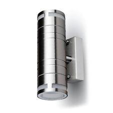 Applique faretto led per esterno satinato acciaio doppia luce elegante silver