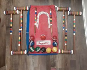 Very Nice Vintage Forster 6 Player Croquet Set w/ Original Carrier Bag
