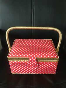 Red Gold And White polka Dot Sewing Box - Premium Quality