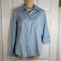 TALBOTS Size 6 White & Blue Stripe Button Up Down Shirt Top Blouse Womens Career