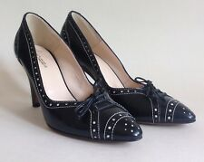 "HOBBS Black Leather Brogue Pattern Almond Toe 3.5"" Heel Court Shoe UK 3 EU 36"