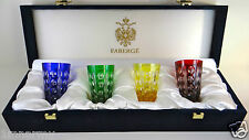 Faberge Salute Vodka Shot Glasses Signed In Faberge Box, Cased Cut Clear Crystal