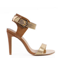 """WOMENS SHOES""""ODETTE""""BY VERALI  HOT NEW HIGH HEEL PARTY SANDALS IN TAN/GOLD"""
