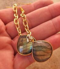 GENUINE LABRADORITE FACETED JEWELRY CHAIN EARRINGS BIG BRUSHED RICH GOLD MOSS