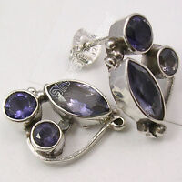 925 Sterling Silver Fiery IOLITE 3 STONE EXTRA ORDINARY Studs Earrings 0.7""
