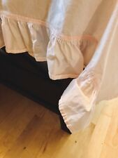 Simply Shabby Chic Pink Cotton Twin Full Flat Sheet Ruffled Edge 68 X 90