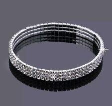 Size Anklet 3 Row Crystal Stretch Rhinestone Ankle Bracelet #145 Silver Plus