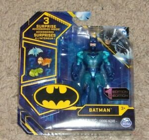 """Dc Rare Chase BATMAN Clear Blue Variant 4"""" Figure 1st Edition Spin Master Sealed"""