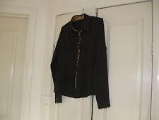 Ladies Button Down Blouse Size XXL Design Meng Kin Duo  Black with Leopard Trim