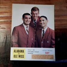 1967 KEN SNAKE STABLER ALABAMA VS OLE MISS REBELS COLLEGE FOOTBALL PROGRAM NICE
