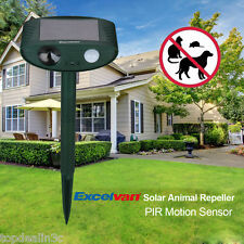 Ultrasonic Solar Powered Dog Cat Repeller PIR Sensor Detection Animal Deterrent