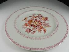 """Royal Doulton China Phoenix Dinner Plate Pink Yellow Florals Gold Trim 10 5/8"""" D"""