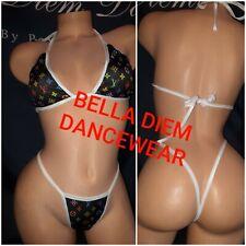 EXOTIC DANCEWEAR THONG COSTUME size S/M READ DESCRIPTION  BIKINI SET