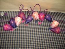 Purple Fabric Spiral Tops With Tassle String Lights 10 Mini light string