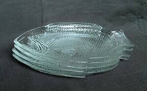 """Fish Shaped Clear Textured Glass Dinner Plates Set of 4 Oven Proof USA 11"""" x 8"""""""