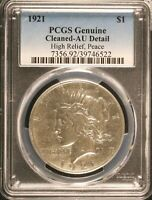 1921 Peace Silver Dollar High Relief PCGS AU Details Rare Key Date US Coin #6522
