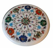 "12"" Marble side Table Top Pietra Dura Inlay Handmade Work Home Decor"