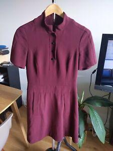 Karen Millen Size AUS8, UK10 Maroon Wine A-Line Dress
