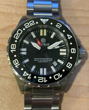 Deep Blue Daynight Rescue T-100 Tritium GMT Swiss Automatic Dive Watch Pristine