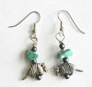 "Judy Strobel Elegant Turquoise & Hematite Pewter Armadillo Earrings 1 1/4"""