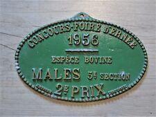 FRENCH VINTAGE AGRICULTURE FARMING PLAQUES ANIMAL SHOW PRIX PRIZE 1956 BOVINE