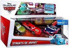 2014 Disney Cars Die Cast Streets of Japan Kaa Reesu Yakoza McQ 3 Car Pack NEW