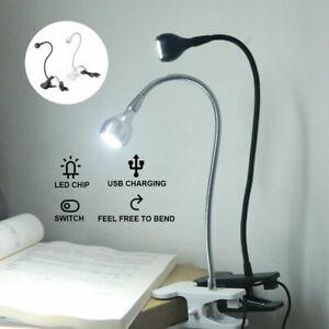 UK USB Flexible Reading LED Light Clip-on Beside Bed Desk Table Lamp Book Lamp`