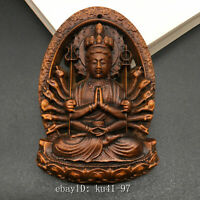 China old Boxwood Hand carved Thousand Hands Guanyin Pendant amulet