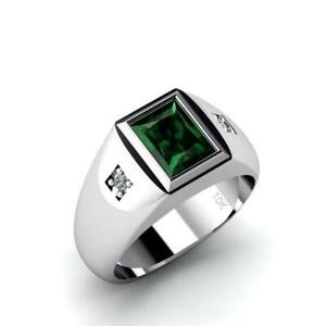 Green Stone Gents Ring Solid 10K White Gold with Natural DIAMONDS Emerald Band