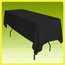 70x120 Tablecloth Table Cover Rectangle Wedding Banquet Event Polyester - Black