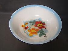 Ancienne gamelle en métal émaillé vintage déco fleurs made in China