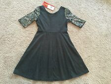New Ruby Rox Sequin Sleeves Little Girls Dress Charcoal. Size 8