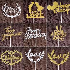 Silver Gold Happy Birthday Cake Topper Decoration Wedding Party Xmas Cake Decor