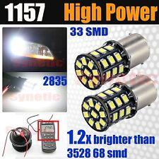 2x 1157/2357A Dual Filament 6000K White Brake Tail Stop 33-SMD LED Light Bulbs