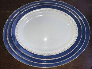 Vintage Keeling & Co Ltd Losol Ware Set Of 3 Oval Meat Plates Blue & White