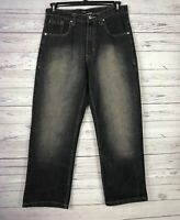Qruel Jean Company Men's Black Distressed Denim Jeans Size 32 x 30
