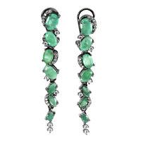 Unheated Oval Green Emerald 7x5mm Cz Black Rhodium 925 Sterling Silver Earrings